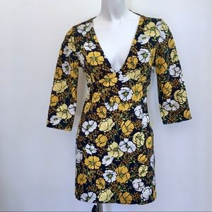 ZARA TRAFALUC | FLORAL MINIDRESS | 3/4 SLEEVES